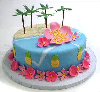 Beach Theme Wedding Cakes Tropical Beach Wedding Cake  LONG ...